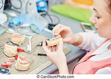 prosthetic dentistry technician - Dental technician working...