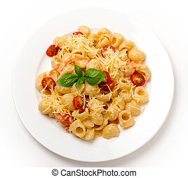 Pasta with cream and tomatoes from above