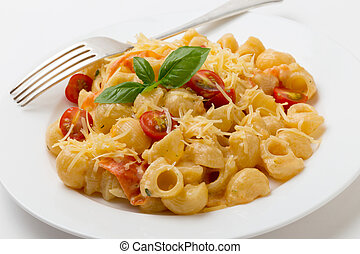 Cream and tomato pasta with fork