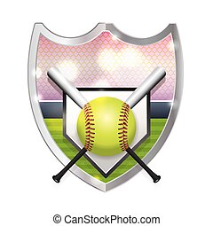 Softball Emblem Illustration - An illustration of an...