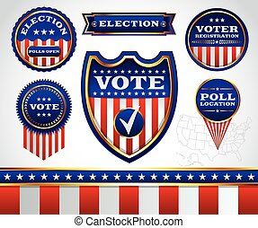 Set of Election and Voting Badges and Labels - An...