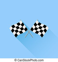 Checkered Flags - Two Checkered Flags Isolated on Blue...