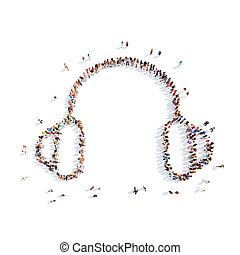 people in the form of headphones - Large group of people in...