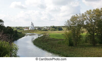 Golden Ring Russia, Suzdal. The river Kamenka and Ilyinskaya...