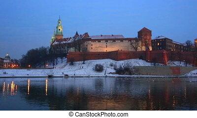 Wawel castle and the Vistula River in Krakow in winter...
