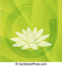 Vector enso Zen circle with lotus flower. - Vector enso Zen...