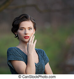 fashionable woman with retro coiffure - fashionable Young...