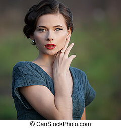 woman with retro coiffure - Young woman with retro coiffure...