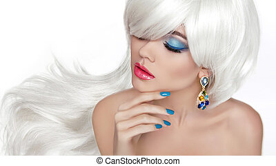 White Long hair. Eye makeup. Beautiful blond with fashion jewelr