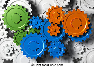 Team Building Concept - Gears or cogwheel working together....