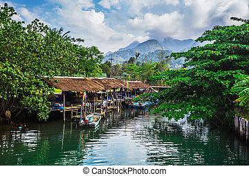 Fishing village on the island in Southeast Asia. KOH CHANG,...