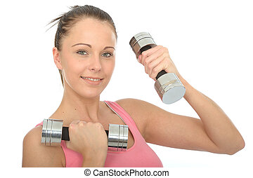 Healthy Happy Young Woman Training With Dumb Bell Weights...