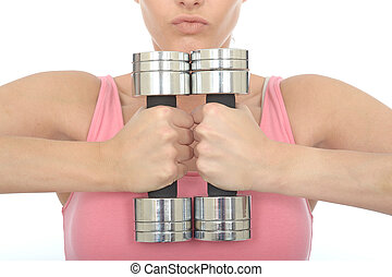 Healthy Young Woman Holding Two Dumb Bell Weights Together -...