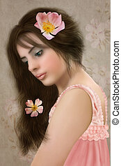 Girl with long hair - Portrait of young girl with long hair...