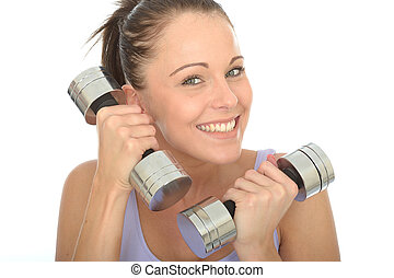 Healthy Young Woman Training With Dumb Bell Weights -...