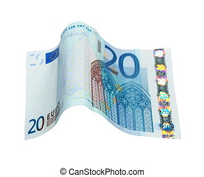 20 Euro banknote isolated on white background