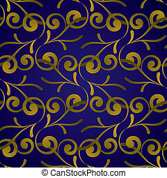 golden royal leaf - Royal blue and gold seamless repeat...
