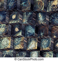 old wood blocks backdrop 3d concept