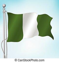 Nigerian flag - Nigerian realistic flag waving in the sky....