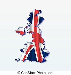 UK map with shiny flag