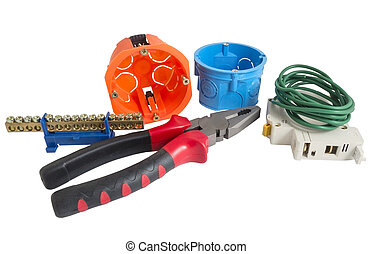 Electrician tools, cable, box for installation of sockets...