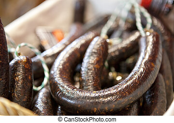Iberian black pudding sausage - Morcillas or spanish black...