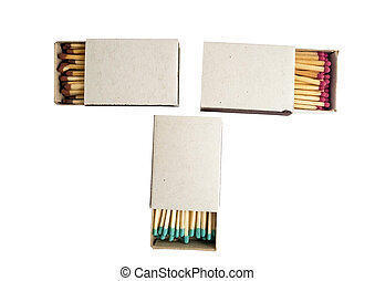 matches in box - Open Box of Matches on White Background