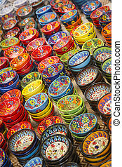 Hand Painted Turkish Bowls on Table at the Market