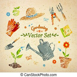 Gardening equipment. - Gardening equipment vector set on...