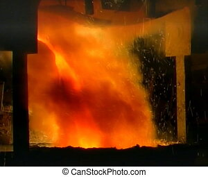 metallurgy 16 - steel production, hot lava close up