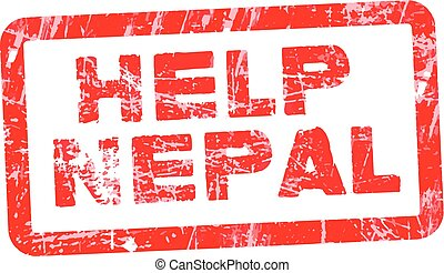 Grunge red rubber stamp with text Help Nepal, vector...