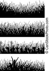 Crowd foregrounds - Set of editable vector silhouettes of...