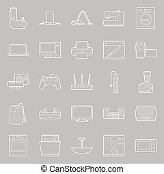 Home electrical appliances thin lines icon set
