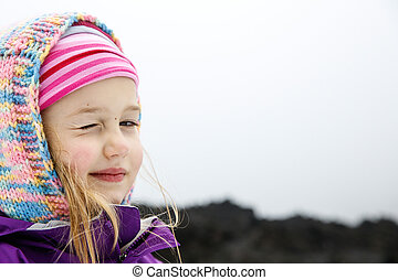 Portrait of playful and carefree Caucasian girl - Portrait...