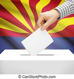 Ballot box with US state flag on background - Arizona -...