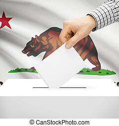 Ballot box with US state flag on background - California -...