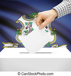 Ballot box with US state flag on background - Connecticut -...