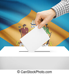 Ballot box with US state flag on background - Delaware -...