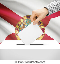 Ballot box with US state flag on background - Florida -...