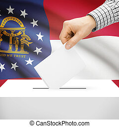 Ballot box with US state flag on background - Georgia -...