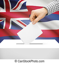 Ballot box with US state flag on background - Hawaii -...
