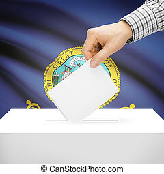 Ballot box with US state flag on background - Idaho - Ballot...