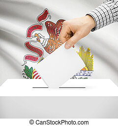 Ballot box with US state flag on background - Illinois -...