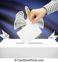 Ballot box with US state flag on background - Louisiana -...