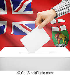 Ballot box with Canadian province flag on background -...