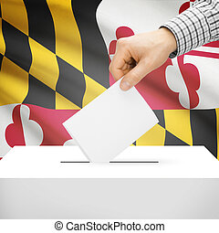 Ballot box with US state flag on background - Maryland -...
