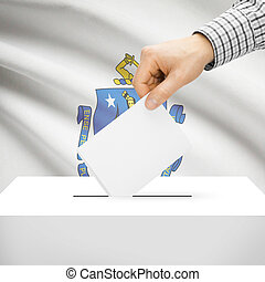 Ballot box with US state flag on background - Massachusetts...