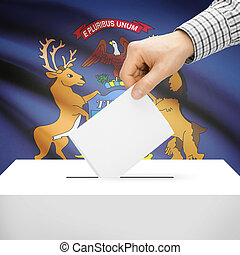 Ballot box with US state flag on background - Michigan -...