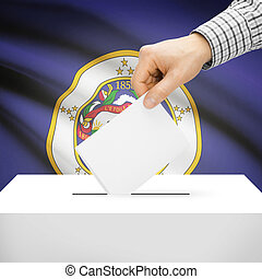 Ballot box with US state flag on background - Minnesota -...