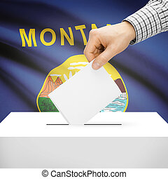 Ballot box with US state flag on background - Montana -...